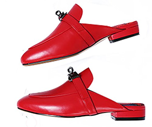Calzature ca Scivolare A Zoccoli e 5CM Rosso Calaier Tacco su Sabot 1 Blocco Donna 7qnwp4