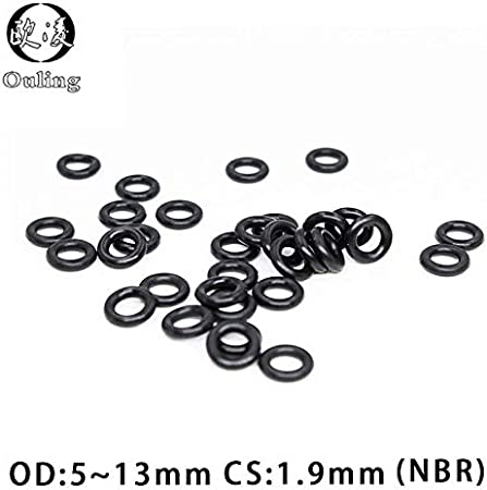 Size: OD10.5mm, Thickness: 1.9mm Gimax 50PC//lot Black NBR Sealing O-Ring CS1.9mm OD5//5.5//6//6.5//7//8//8.5//9//10//10.5//11//11.5//12//13mm O Ring Seal Rubber Gasket Oil Rings