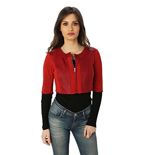 Aren - Chaqueta 3/4 DE Mujer en Piel Genuina Rojo