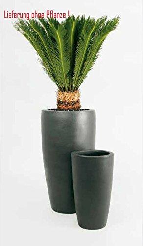 Blumenübertopf Partner aus Keramik,nur für Innen geeignet, Farbe Anthrazit, Ø 36cm Höhe 70cm