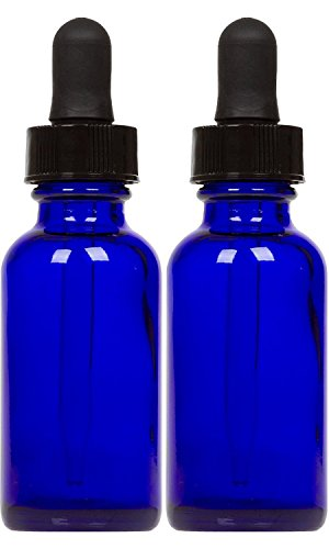 Cobalt Glass Bottles with Eye Droppers (2 oz, 2 pk) For Essential Oils, Colognes & Perfumes, Highest Quality, Blank Labels Included (Homemade Eye Makeup Remover With Essential Oils)