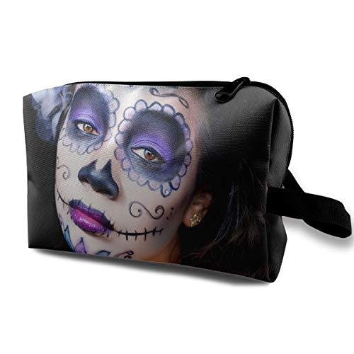 Sugar Skull Halloween Makeup Girls Multi-function Travel Makeup Toiletry Coin Bag -