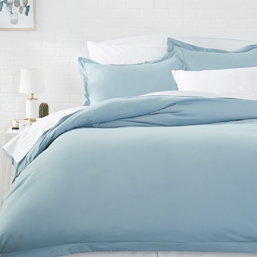 AmazonBasics Microfiber Duvet Cover Set - Full/Queen, Spa Bl