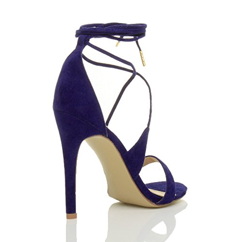 Barely Suede Cobalt Blue Womens Size tie Strappy There up Shoes high Heel Lace Ladies Sandals wqqFxp