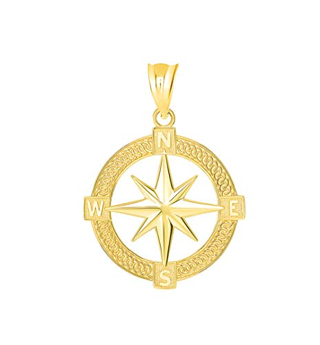 Nautical Jewelry 14k Gold Round North Star Compass Adventures Charm Pendant