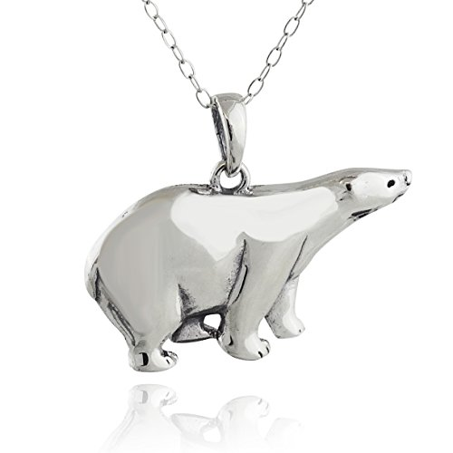FashionJunkie4Life Sterling Silver Polar Bear Pendant Necklace, 18