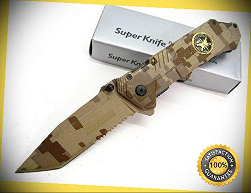 Desert Camo Assisted Serrated Special Forces Sf Tanto Folder Sharp Knife Combat Tactical Knife by KARPP