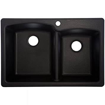 Franke Ellipse 33 Dual Mount Granite Offset Double Bowl Kitchen