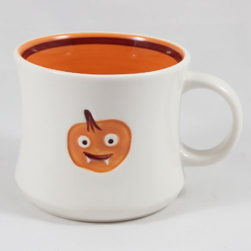Starbucks Coffee 2006 Halloween White & Orange Pumpkin Jack-o-lantern Ceramic Mug Cup 14 Oz.