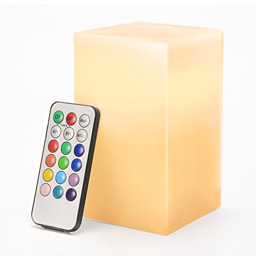 Litake LED Flameless Pillar Candle Light with Paraffin Body Real Wax Candle Lamp 12 Colors with 18 Keys Remote Control and 4 Hrs or 8Hrs Timer Function, 5inch Tall ()