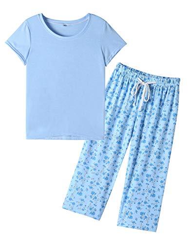 VENTELAN Pajamas for Women Short Sleeve Capri Pajama Set Soft Sleepwear Blue-S