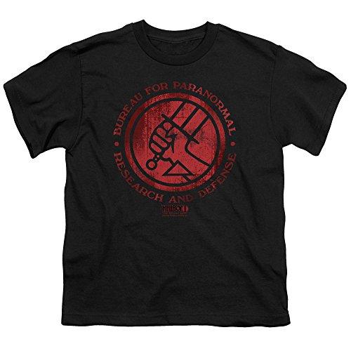 Hellboy Ii BPRD Logo Unisex Youth T Shirt for Boys and Girls, Large Black
