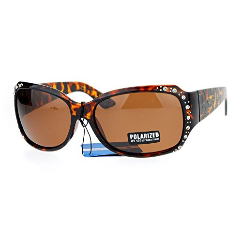 (Anti Glare Polarized Womens Rhinestone Plastic Rectangular Butterfly Sunglasses Tortoise)