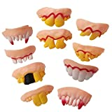 Jeash Halloween 10 Pcs Ugly Zombie Teeth Adult Teeth Billy Bob Big Cletus Snaggle Biker Teeth Costume Party Funny Gift (Multicolor)
