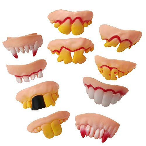 Halloween Type Anime (Jeash Halloween 10 Pcs Ugly Zombie Teeth Adult Teeth Billy Bob Big Cletus Snaggle Biker Teeth Costume Party Funny Gift)