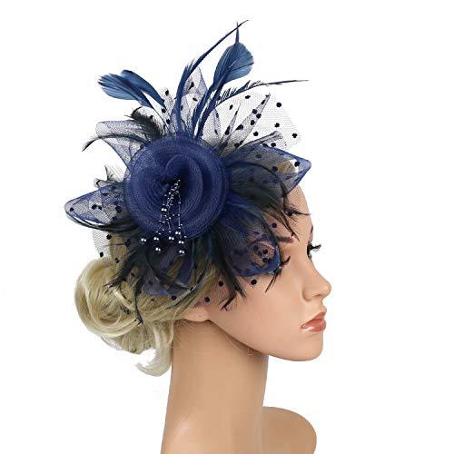 Fascinators Hats for Women Ladies Girls Tea Party Hat Navy Fascinators for Cocktail Kentucky Derby 20s Party Head wear