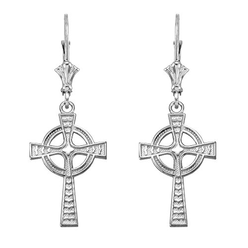 Celtic Cross Leverback Dangle Earrings 925 Sterling Silver - Leverback Cross