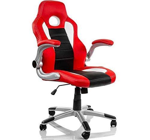 Gaming 2 Silla giratoria gaming para estudio despacho o escritorio con ruedas, ideal para teletrabajo o gamers Silla de oficina giratoria con gas, brazos abatibles y mecanismo basculante