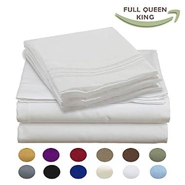 Luxury Egyptian Comfort Wrinkle Free 1800 Thread Count 6 Piece King Size Sheet Set, WHITE Color, 2 Bonus Pillowcases FREE!