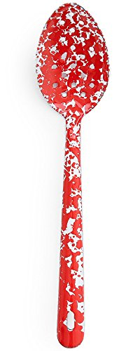 - Enamelware Slotted Spoon, 12 inch, Red/White Splatter