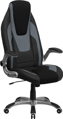 Flash Furniture High Back Black and Gray Vinyl Executive Swivel Chair with Black Mesh Insets and Flip-Up - Executive Vinyl Back