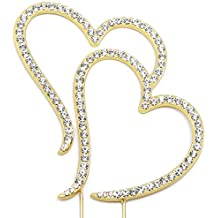 Double Heart Cake Topper, Wedding Anniversary Engagement Decorations, Crystal Rhinestone Gold