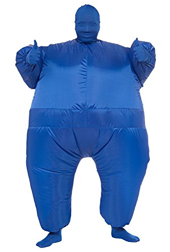 Inflatable Full Body Jumpsuit Cosplay Costume Halloween Funny Fancy Dress Blow Up Party Toy (Blue)