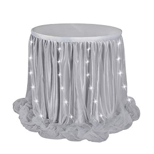 White tulle table skirt 8ft