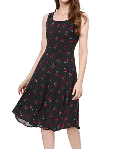 Allegra K Womens 1950S Sleeveless Cherry Print Midi Flare Vintage Dress M Black