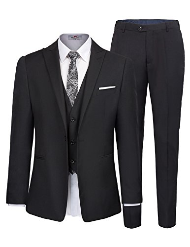 Men's One Button 3 Piece Suit Blazer Jacket Tux Vest and Trousers Size S Black