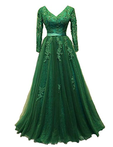 Dresses V Neck Bridal Prom Blue Sky Women's Evening Long Backless Bess Sleeves Lace tqCvxRqw