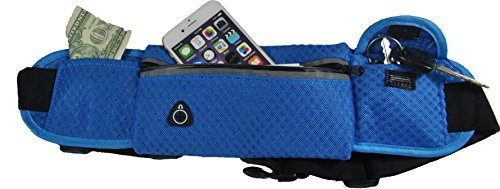 Running and Fitness Expandable Weather Resistant Waist Pack Belt – Band Fits Iphone 6/6s Plus, Samsung – For Sport Men, Women During Workouts, Cycling, Hiking, Walking, Running (Blue)