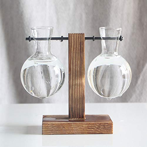 DAMEING Bulb Glass Vase Desktop Plant Terrarium Glass Planter Bulb Vase with Retro Solid Wooden Stand Metal Swivel Holder Water Planting Glass Vase for Hydroponics Home Garden Office Decor from DAMEING