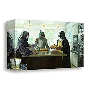 Bucket Imperial Baking Party – Star Wars Parody Darth Vader, Boba Fett, Darth Sidious 8″ x 12″ Reproduction Gallery Wrapped Canvas Kitchen Wall Art