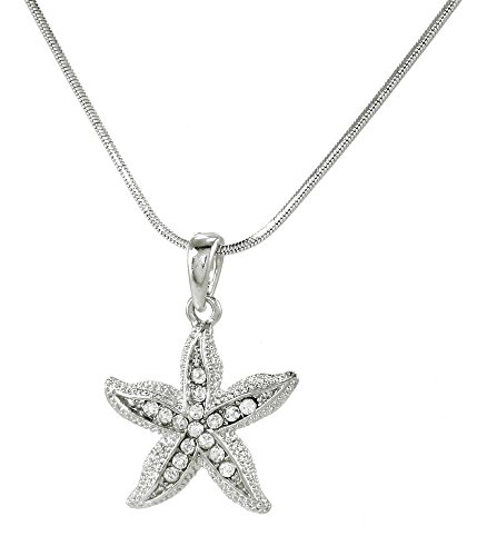 (Silver Tone Starfish Pendant Necklace Clear Crystal Pendant 16