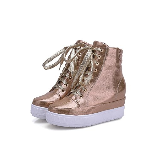Allhqfashion Dames Pu Low-top Solide Lace-up Hoge Hakken Laarzen Goud