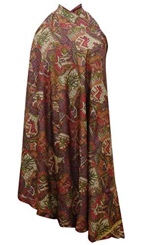 Indianbeautifulart Double Couche Jupe rversible Pure Silk Robe Portefeuille Multicolore