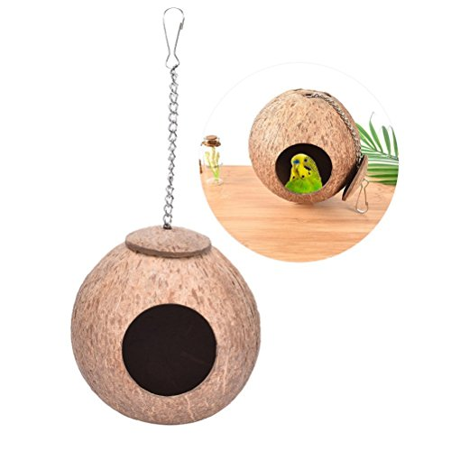 Natural Coconut Shell Bird Nest House Hut for Pet Parrot Budgies Parakeet Cockatiels Conure Canary Finch Pigeon Cage Hamster Rat Gerbil Mice Cage Seed Feeder Toy Nesting Box ()