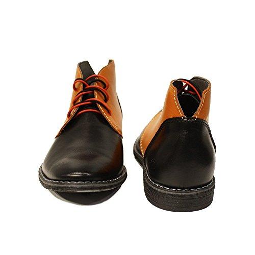 Modello Ilario - Handmade Italiano Da Uomo In Pelle Arancia Chukka Boots - Vacchetta Pelle morbido - Allacciare