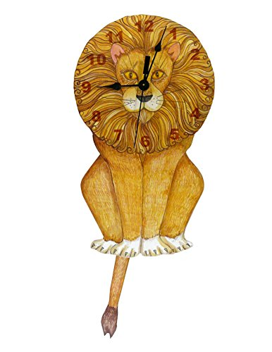 American Made Lion Swinging Tail Pendulum Wall Clock