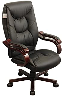 Luxury Wooden Frame Extra Padded Desk Computer Office Chair In Five Colours  (Black)
