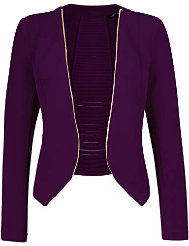 Michel Women's Open Front Lightweight Cardigan Blazer Jacket Purple Large