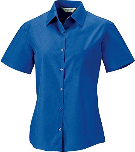 Nueva Russel 100% algodón popelín de manga corta de la mujer camisa formal trabajo de oficina Top negro