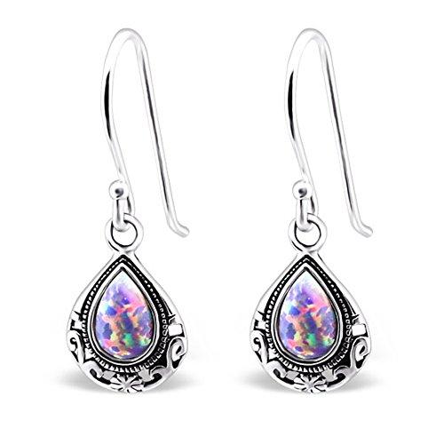 Teardrop Sterling Silver Synthetic Opal Dangle Earrings Vintage Antique Style (E23631) (Multi Lavender)