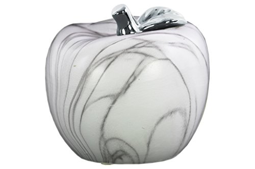 Urban Trends Ceramic Apple Silver Leaf and Gray Streaks LG Marbleized Finish White Figurine ()