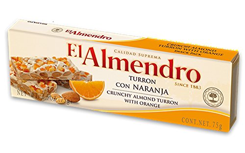 Almonds Oranges - El Almendro Crunchy Almond Turron with Orange 75gr - 3 pack