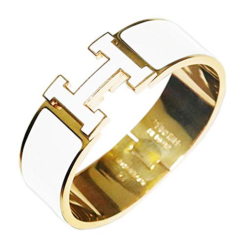 "Glenda Dunn Stainless Steel Wide 20MM Fashion Buckle Bangle Enamel Bracelet Perimeter 7.3"" inch (Gold/White)"