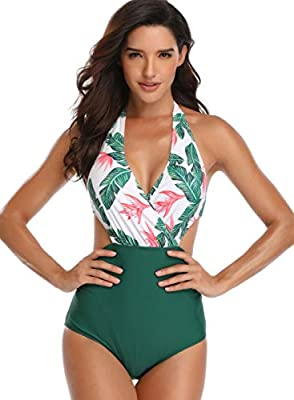 Women's Swimsuits High Waisted Halter One Piece Bikini Sets Monokini Swimwear Bathing Suit