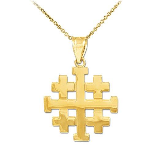 14k gold templar crusaders jerusalem cross pendant necklace 14k gold templar crusaders jerusalem cross pendant necklace aloadofball Image collections
