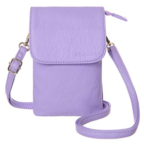 MINICAT Roomy Pockets Series Small Crossbody Bags Cell Phone Purse Wallet For Women(Light Purple)